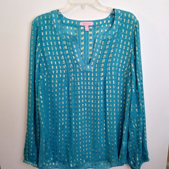 07329c62a8e Lilly Pulitzer Tops - Lily Pulitzer Colby Sheer Blue Gold Tunic Blouse
